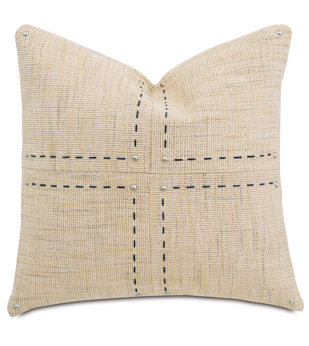 Champagne Mountain Resort Geometric Studded Throw Pillow Hand Stitched 22