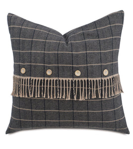 "Gray Lodge Plaid Throw Pillow Knife Edge 24""x24"""