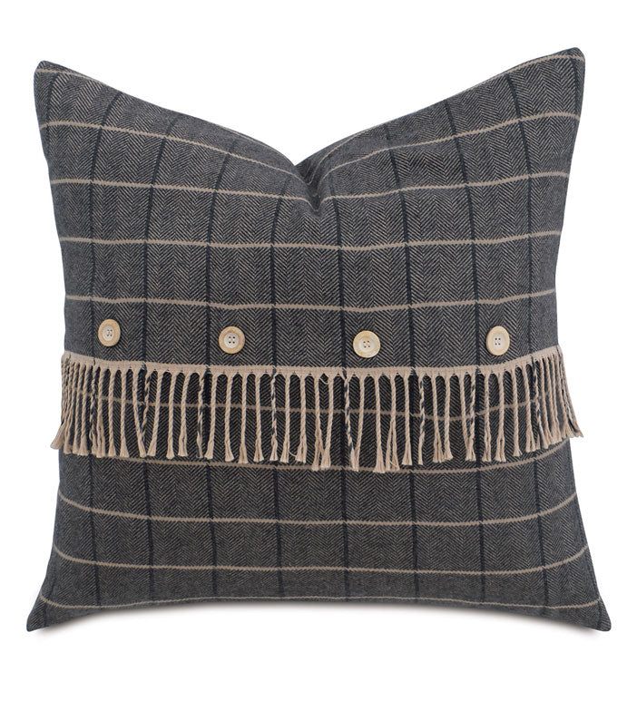 Gray Lodge Plaid Throw Pillow Knife Edge 24