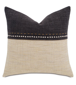 "Champagne and Charcoal Mountain Resort Studded Throw Pillow Hand Stitched 22""x22"""