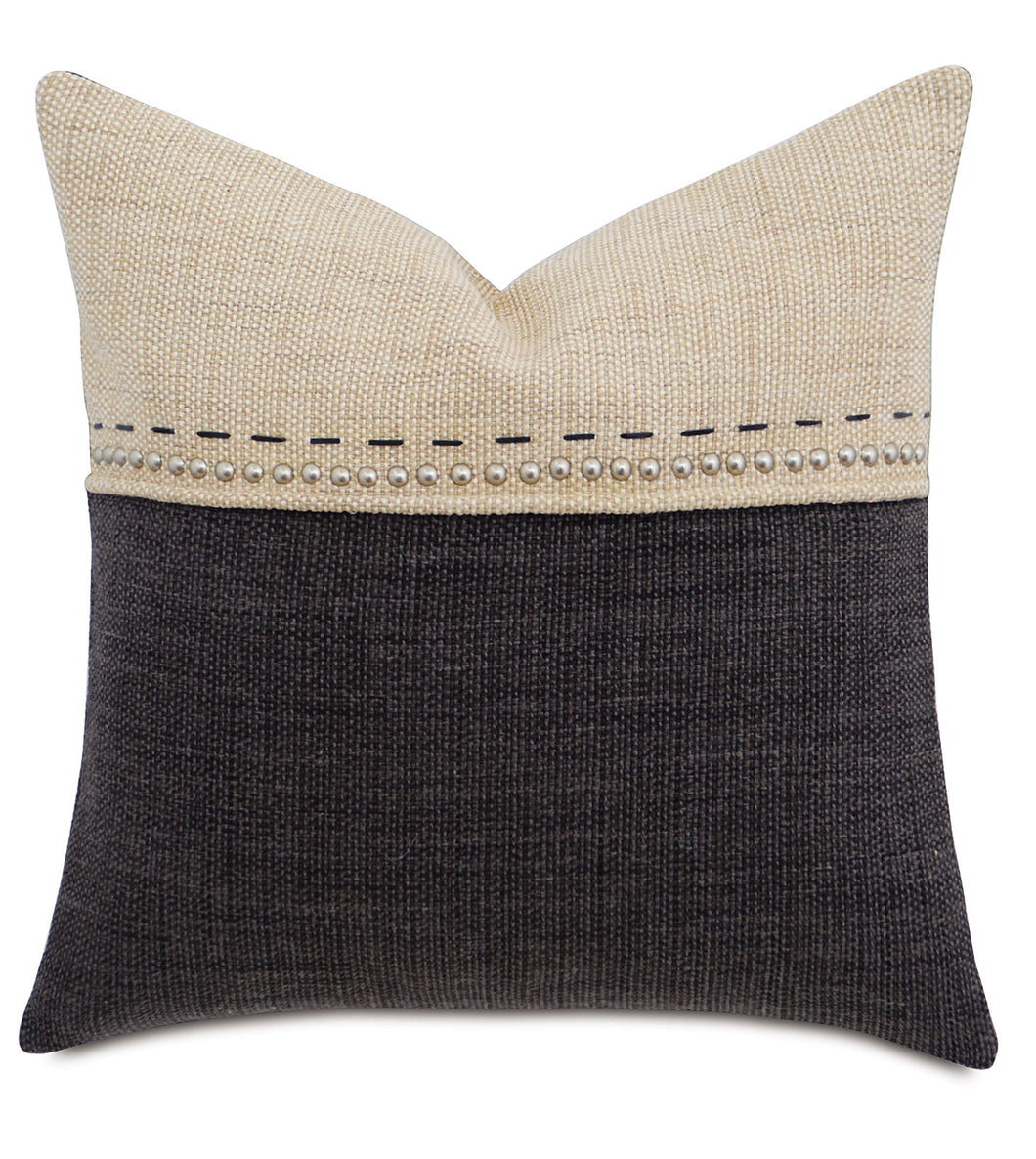 Charcoal and Champagne Studded  Mountain Resort Throw Pillow Hand Stitched 22