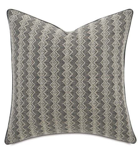 Geometric Gray Mountain Tribal Throw Pillow With Welt 22
