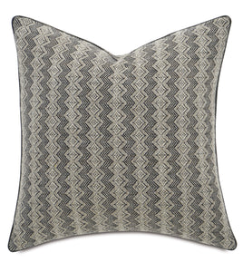 "Geometric Gray Mountain Tribal Throw Pillow With Welt 22""x22"""
