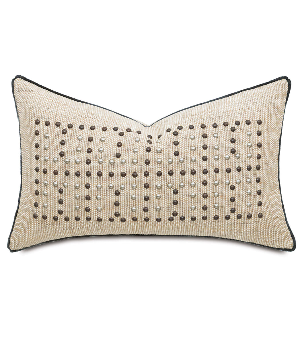 Landon Sand Champagne Mountain Resort Studded Lumbar Pillow 15