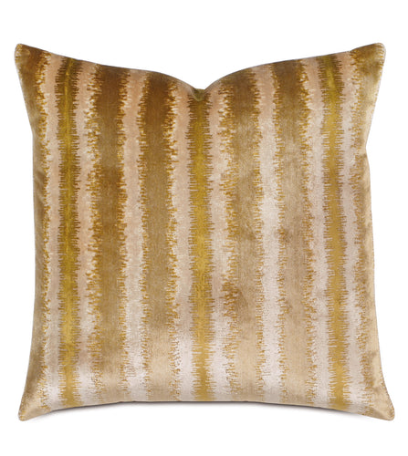 Gold Abstract Mountain Stripe Jacquard Throw Pillow Knife Edge 20