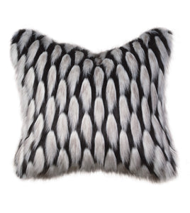 "Black and Silver Faux Fur Throw Pillow Knife Edge 22""x22"""