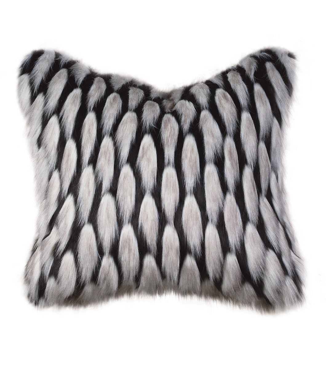 Black and Silver Faux Fur Throw Pillow Knife Edge 22