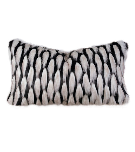 Black and Silver Luxe Faux Fur Lumbar Pillow Knife Edge 15