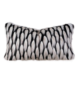 "Black and Silver Luxe Faux Fur Lumbar Pillow Knife Edge 15""x26"""