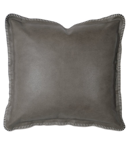 Telluride Blanket Stitch Decorative Accent Pillow in Cowhide Leather 20