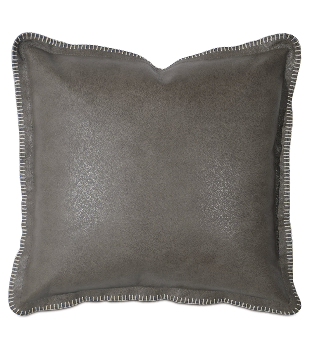 Telluride Blanket Stitch Decorative Accent Pillow In Cowhide Leather 2 Rustic Lodge Collection