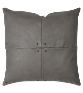"Telluride Nailhead  Decorative pillow in  Cowhide Leather 20""×20"""