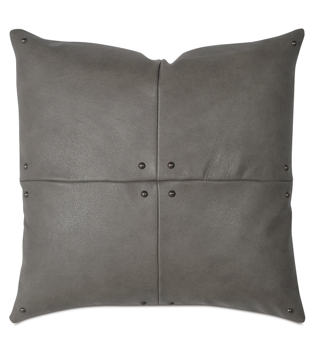 Telluride Nailhead  Decorative pillow in  Cowhide Leather 20