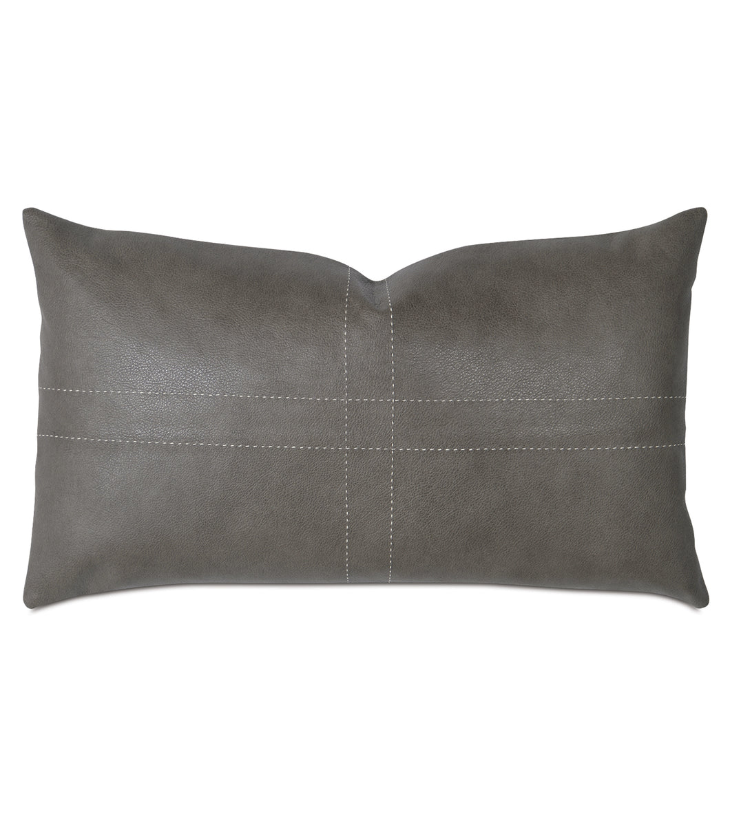 Telluride Cowhide Leather Tailor's Tack Stitch Decorative Pillow 13