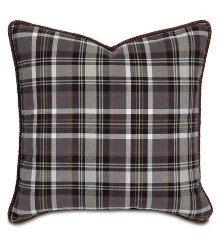 Charcoal Rustic Cabin Plaid Twill Throw Pillow With Faux Leather Cord 20