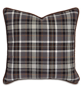 "Charcoal Rustic Cabin Plaid Twill Throw Pillow With Faux Leather Cord 20""x20"""