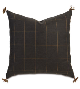 "Rustic Lodge Check Accent Pillow in Chocolate Brown 22""×22"""