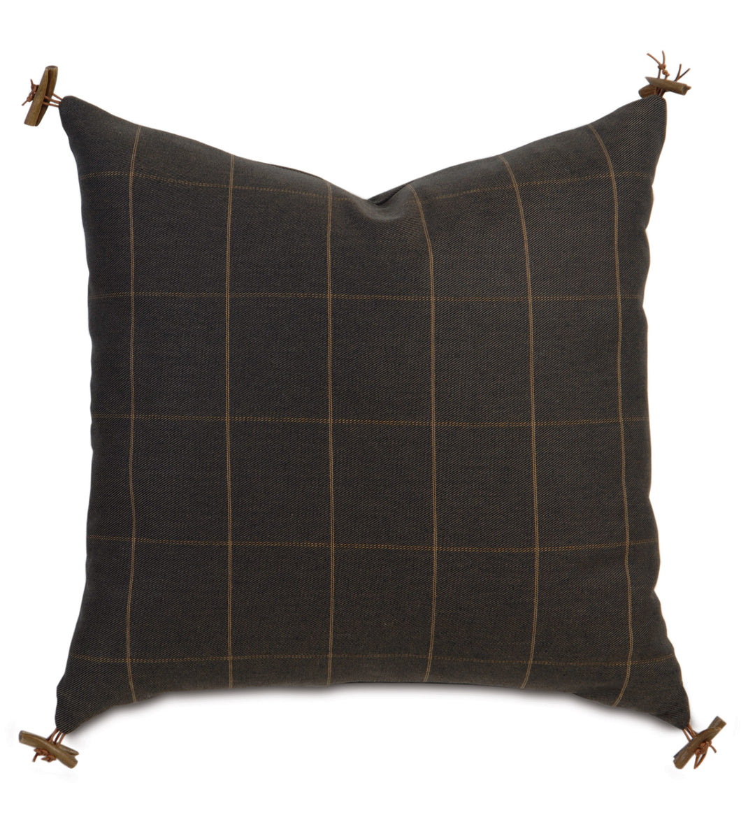 Rustic Lodge Check Accent Pillow in Chocolate Brown 22