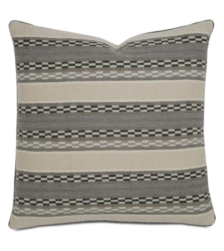 Telluride Warm Gray Tribal Wool Throw Pillow With Cord 22