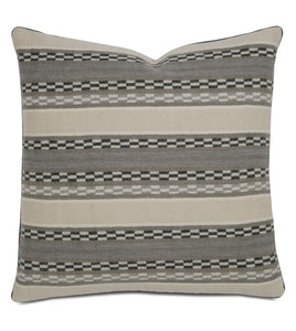 "Telluride Warm Gray Tribal Wool Throw Pillow With Cord 22""x22"""