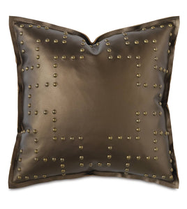 "Metallic Bronze Luxe Mountain Geometric Faux Leather Throw Pillow Self Flange 18""x18"""