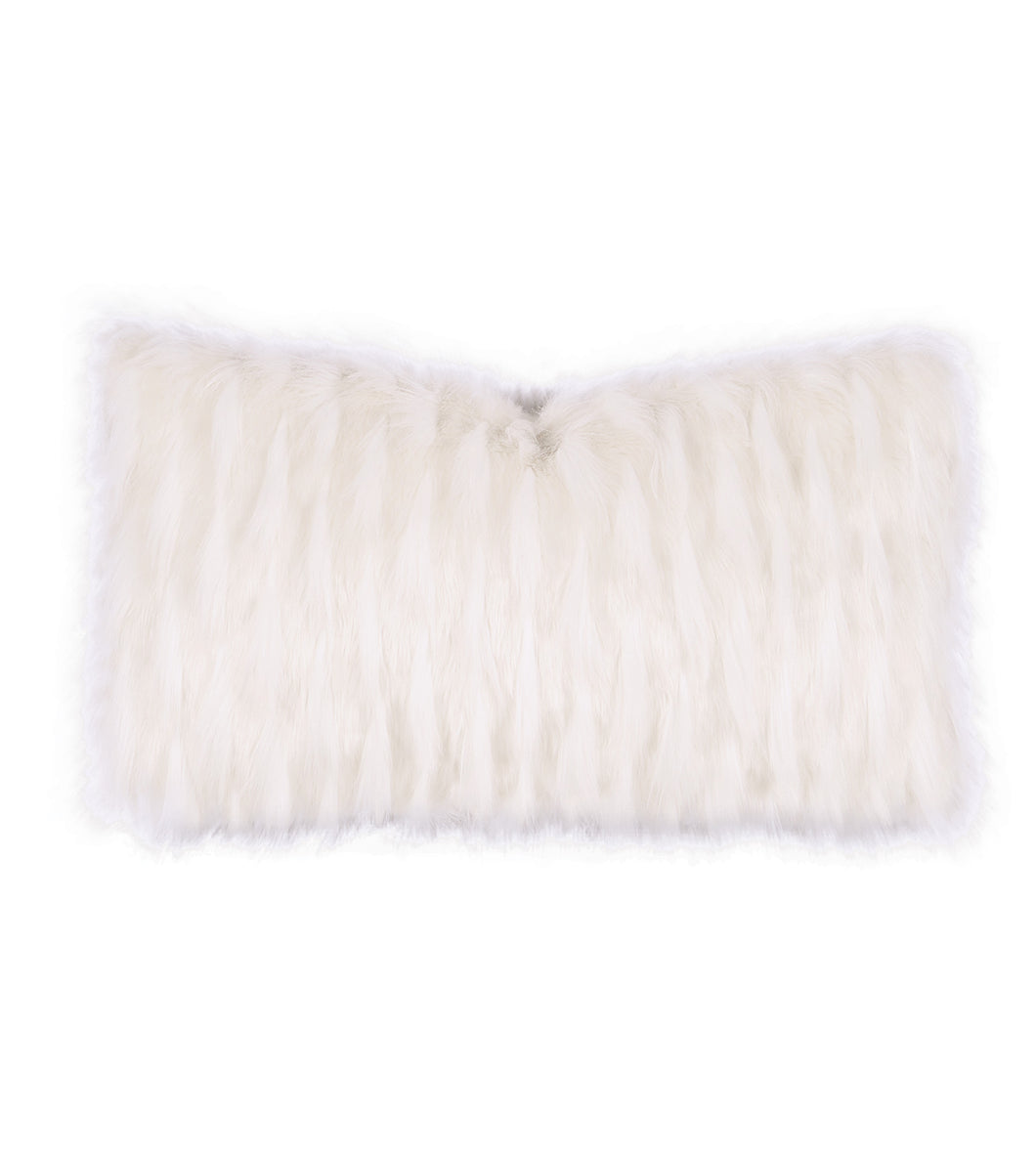 White Snow Faux Fur Lumbar Pillow Knife Edge 15