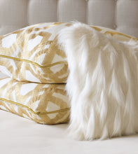"White Snow Faux Fur Lumbar Pillow Knife Edge 15""x26"""