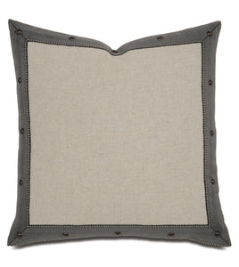 "Warm Gray Studded Lodge Throw Pillow 18""x18"""