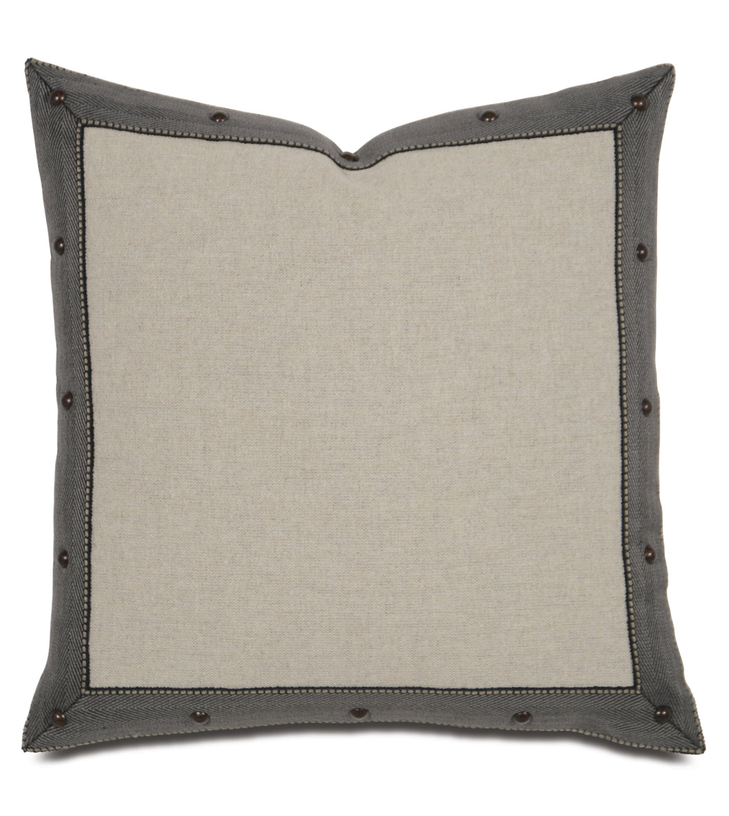 Warm Gray Studded Lodge Throw Pillow 18