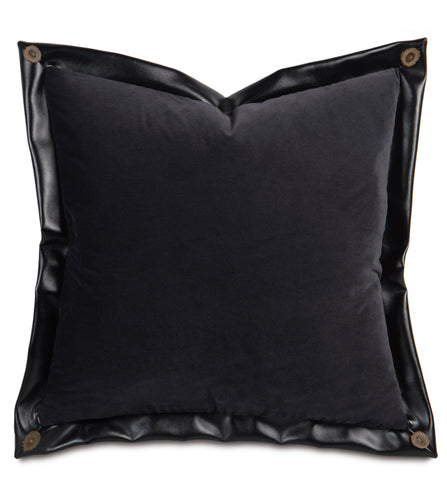Rustic Lodge Solid Dark Gray Velvet Euro Sham with Faux Leather Flange 27