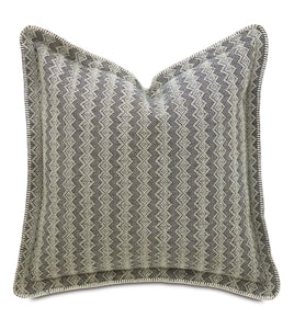 "Gray Mountain Resort Tribal Jacquard Euro Sham Self Flange with Stitching on Edge 27""x27"""