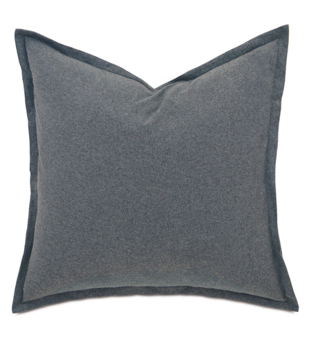 Landon Gravel solid Gray Cotton Euro Sham 27
