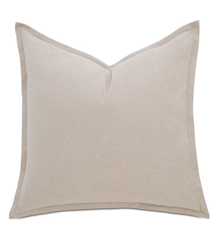 Landon Sand Modern Solid Cream Cotton Flange Euro Sham 27
