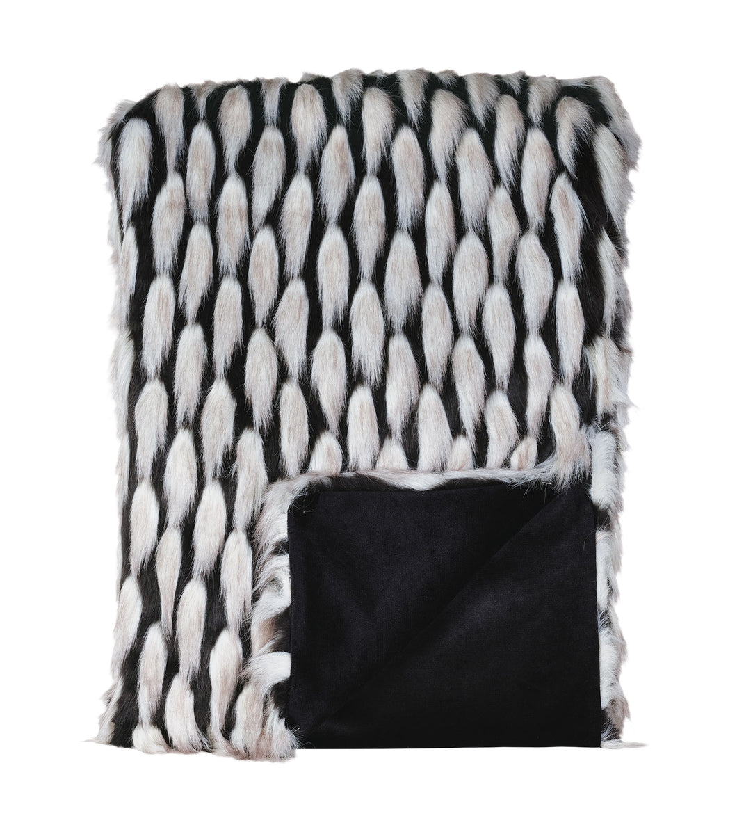 Black and Silver Luxe Glamour Faux Fur Throw