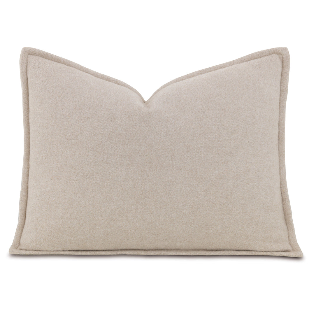 Brera Flannel Beige Mountain Resort Solid Lumbar Pillow Self Flange 12