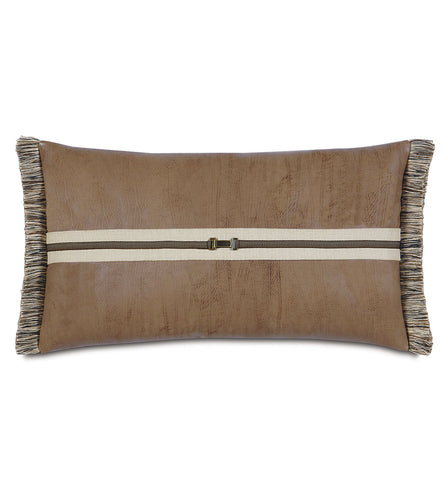 Mountain Tan Faux Leather Buckle Lumbar Pillow With Brush Fringe 15