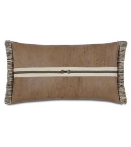 "Mountain Tan Faux Leather Buckle Lumbar Pillow With Brush Fringe 15""x26"""