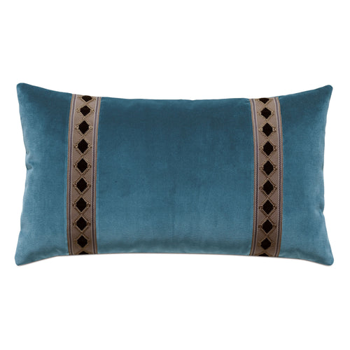 Rudy Blue Velvet Mountain Lodge Lumbar Throw Pillow 15