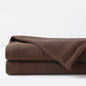 Chalet Alpine Home Chocolate Brown Herringbone Textured Coverlet