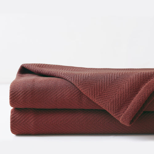 Chalet Alpine Home Russet Red Herringbone Textured Coverlet