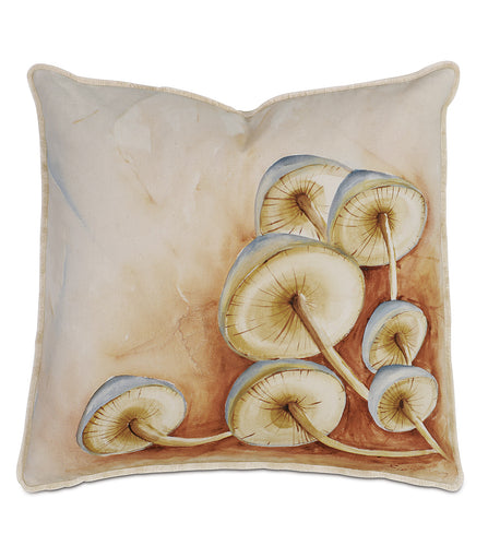Hand Painted Wild Mushroom Champagne Luxe Mountain Throw Pillow 20