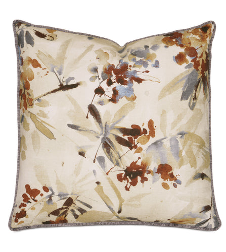 Watercolor Fall Leaves Mountain Botanical Throw Pillow With Brush Fringe 24