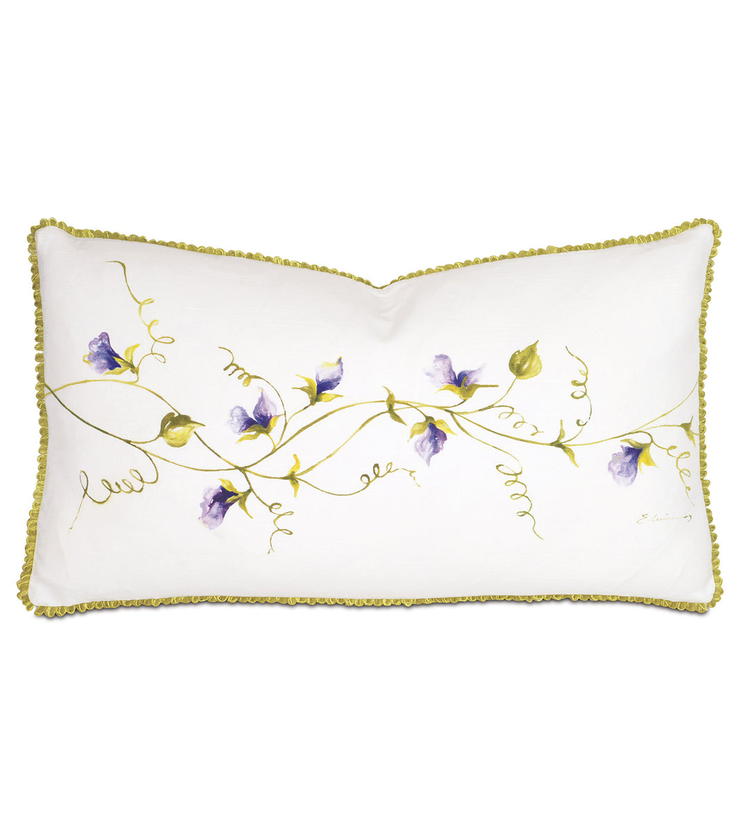 Purple Vine Hand Painted Mountain Resort Lumbar Pillow 15