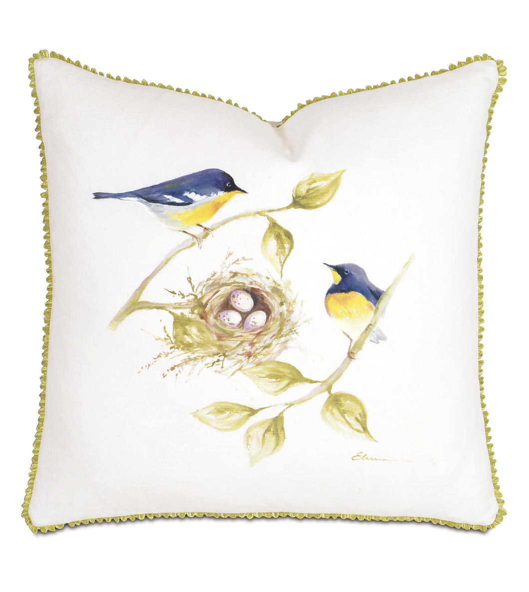 Finches' Nest  Hand Painted Mountain Lodge Throw Pillow 20