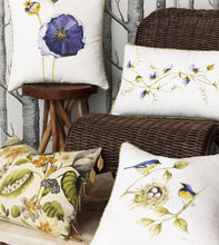"Finches' Nest  Hand Painted Mountain Lodge Throw Pillow 20""x20"""