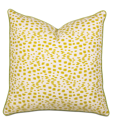 Citron Log Cabin Abstract Euro Sham With Welt 27