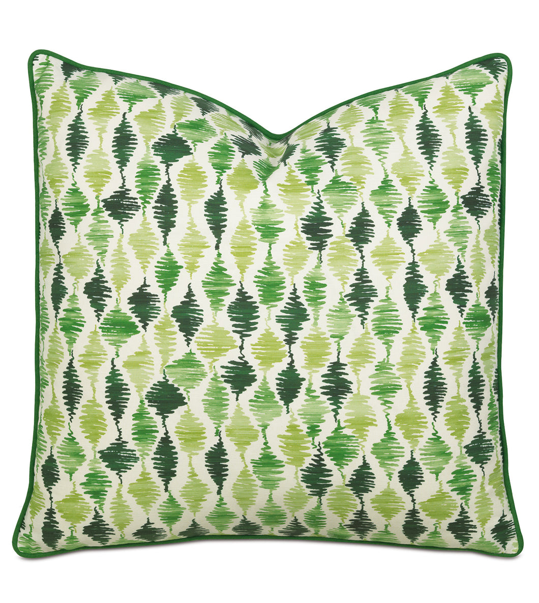 Emerald Green Rustic Cabin Abstract Forest Euro Sham With Welt 27