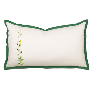 "Ivory Green Rustic Cabin Spring Botanical Cotton King Sham Hand Painted 21""x37"""