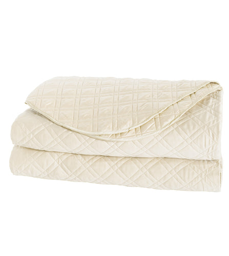 Cream Geometric Rustic 100% Egyptian Cotton Coverlet