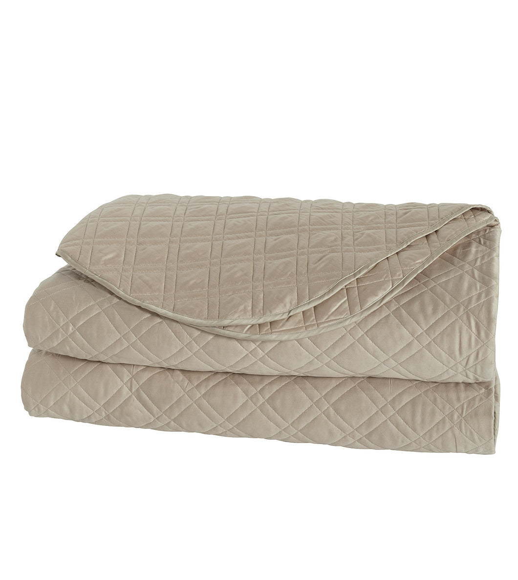 Beige Geometric Rustic 100% Egyptian Cotton Coverlet